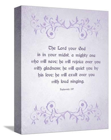 Zephaniah 3:17 The Lord Your God (Lilac)-Inspire Me-Stretched Canvas Print