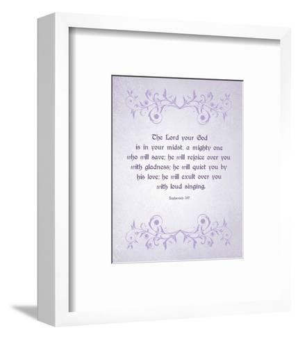 Zephaniah 3:17 The Lord Your God (Lilac)-Inspire Me-Framed Art Print