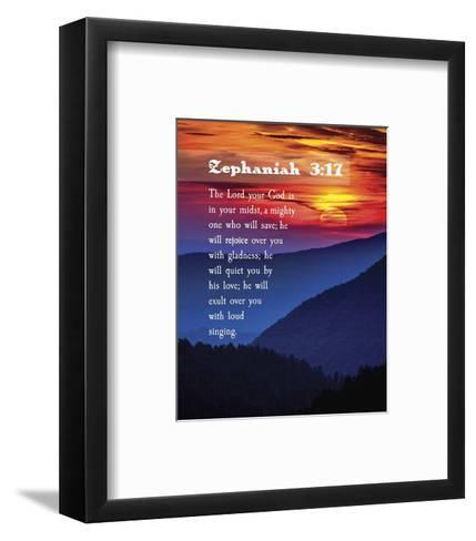 Zephaniah 3:17 The Lord Your God (Sunset)-Inspire Me-Framed Art Print