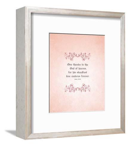 Psalm 136:26, Give Thanks (Peach)-Inspire Me-Framed Art Print