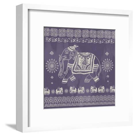 Boho Elephant Purple-Ophelia & Co.-Framed Art Print