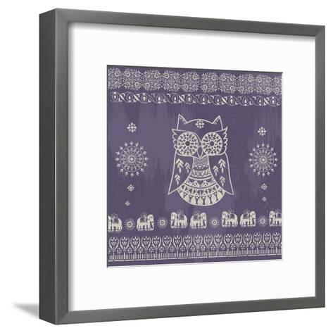 Boho Owl Purple- Ophelia & Co.-Framed Art Print