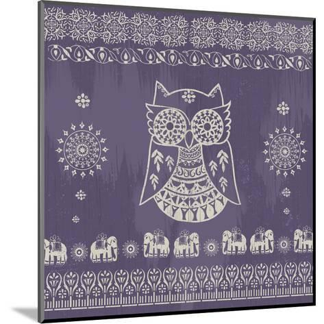 Boho Owl Purple- Ophelia & Co.-Mounted Art Print