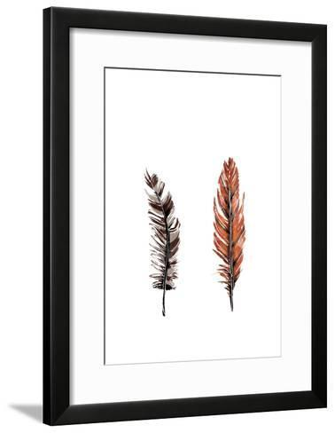 Traditional Sketched Feathers-OnRei-Framed Art Print