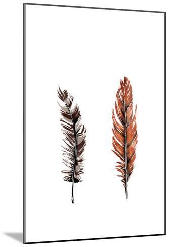 Traditional Sketched Feathers-OnRei-Mounted Art Print