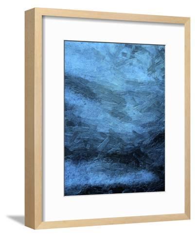 Indigo Bruch Strokes Abstract-Sheldon Lewis-Framed Art Print