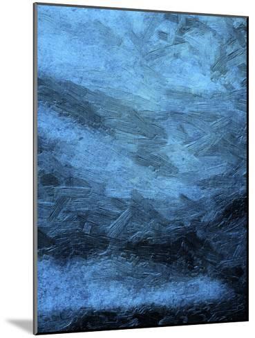 Indigo Bruch Strokes Abstract-Sheldon Lewis-Mounted Art Print