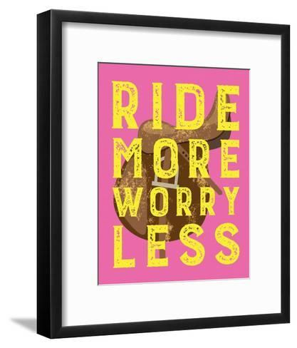 Ride More Worry Less - Pink-Sports Mania-Framed Art Print
