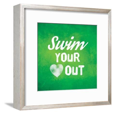 Swim Your Heart Out - Green Vintage-Sports Mania-Framed Art Print