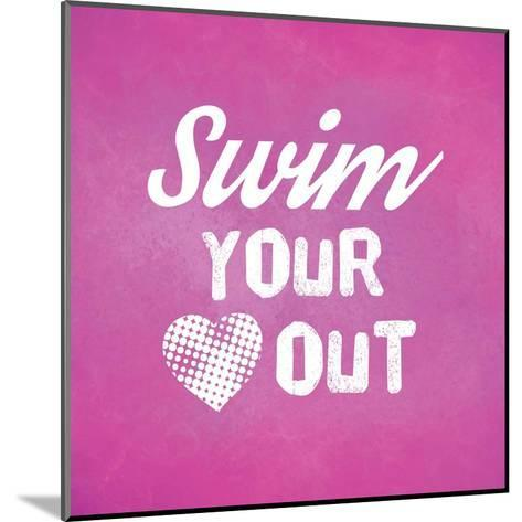 Swim Your Heart Out - Pink Vintage-Sports Mania-Mounted Art Print