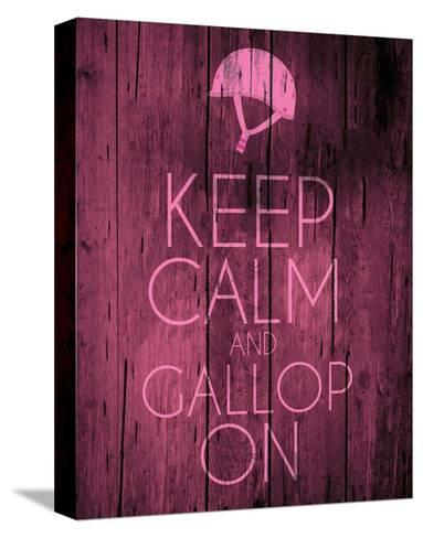 Keep Calm and Gallop On - Pink-Sports Mania-Stretched Canvas Print