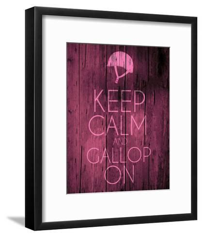 Keep Calm and Gallop On - Pink-Sports Mania-Framed Art Print