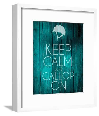 Keep Calm and Gallop On - Teal-Sports Mania-Framed Art Print