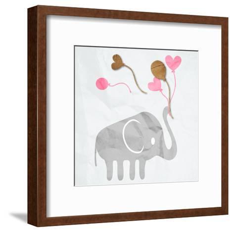 Elephant Balloon-Jace Grey-Framed Art Print