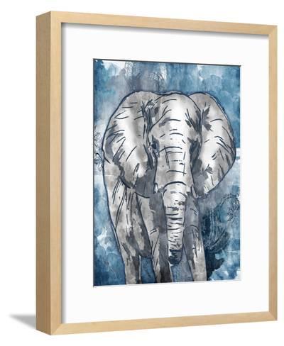 Grey Blue Elephant-OnRei-Framed Art Print