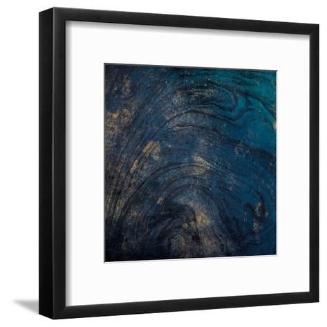 Golden Blue Marble-Jace Grey-Framed Art Print