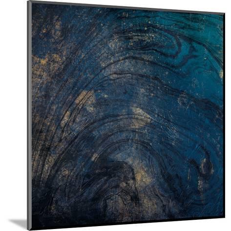 Golden Blue Marble-Jace Grey-Mounted Art Print