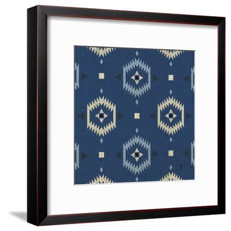 Indigo Squares Droplets-Melody Hogan-Framed Art Print
