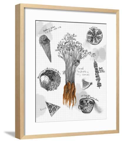 Food Sketches in Black and White I-Julie Silver-Framed Art Print