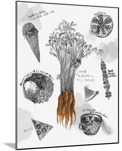 Food Sketches in Black and White I-Julie Silver-Mounted Giclee Print