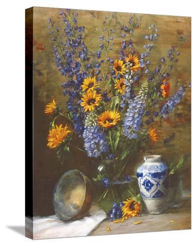 Delphiniums and Chinese Vase-Frank Janca-Stretched Canvas Print