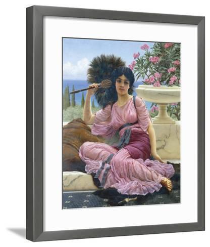 Peacock Fan-John William Godward-Framed Art Print