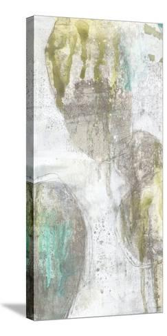 Citron and Teal Orbs I-Jennifer Goldberger-Stretched Canvas Print