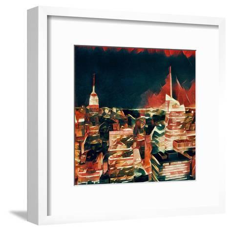 Distorted city scene 32-Jean-Fran?ois Dupuis-Framed Art Print