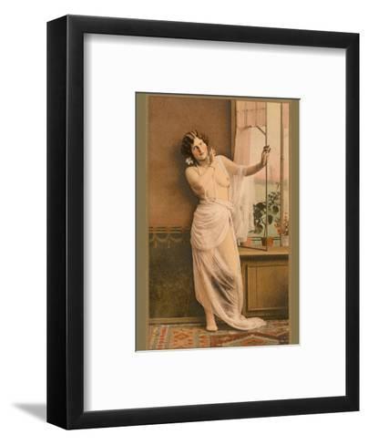 Classic Vintage Hand-Colored Nude Art - Beautiful Belle ?poque Erotica-Studio IPA CT Italy-Framed Art Print
