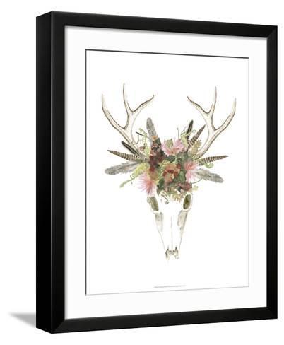 Deer Skull & Flowers I-Naomi McCavitt-Framed Art Print