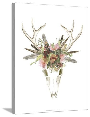 Deer Skull & Flowers I-Naomi McCavitt-Stretched Canvas Print