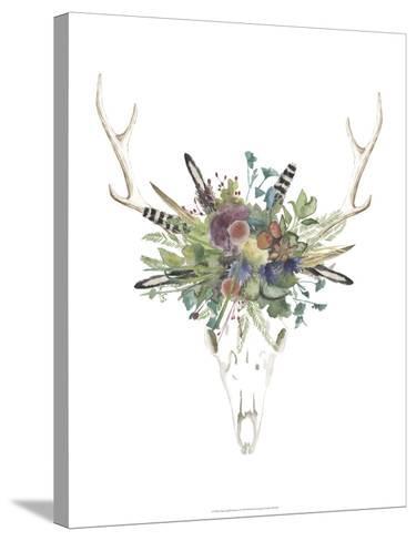 Deer Skull & Flowers II-Naomi McCavitt-Stretched Canvas Print