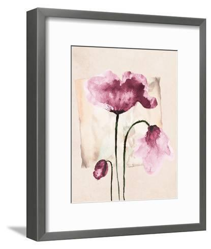 Violet Watercolor Poppies-Z. Olga-Framed Art Print