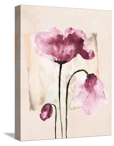 Violet Watercolor Poppies-Z. Olga-Stretched Canvas Print
