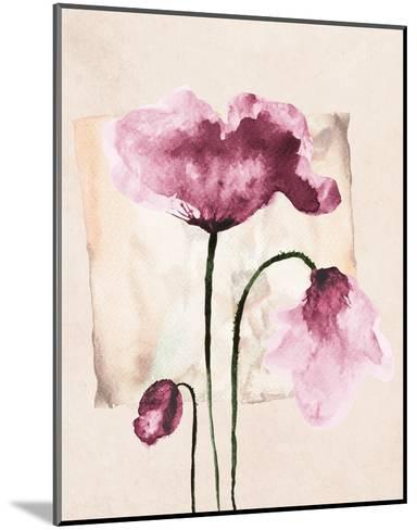 Violet Watercolor Poppies-Z. Olga-Mounted Art Print