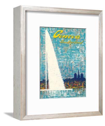 Geneva, Switzerland - Water Jet Fountain-Fernando Correta-Framed Art Print