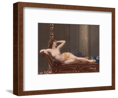 Classic Vintage Hand-Colored Nude - Exotic French Erotic Art-Julian Mandel-Framed Art Print