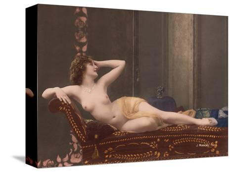 Classic Vintage Hand-Colored Nude - Exotic French Erotic Art-Julian Mandel-Stretched Canvas Print