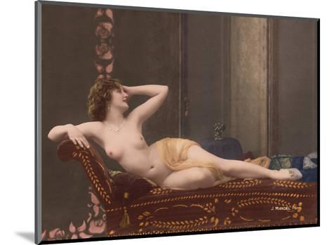 Classic Vintage Hand-Colored Nude - Exotic French Erotic Art-Julian Mandel-Mounted Art Print