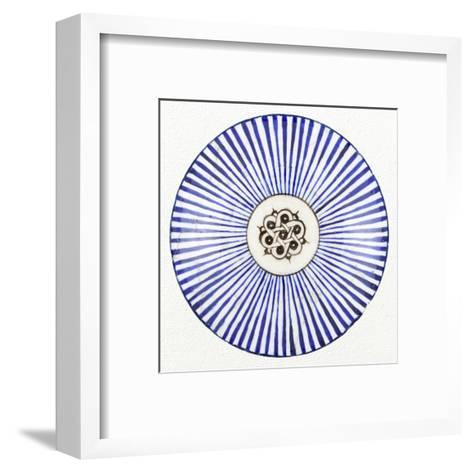 Blue Striped Bowl-Unknown 13th Century Persian Artisan-Framed Art Print