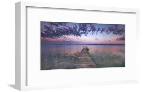 Boat ramp and filigree clouds, Bavaria, Germany-Frank Krahmer-Framed Art Print
