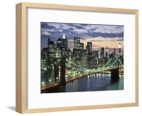 Brookyn bridge and Downtown skyline, NYC-Michel Setboun-Framed Art Print