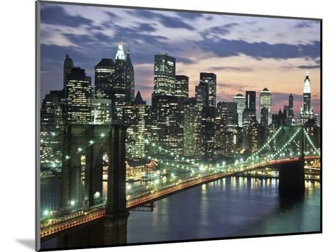 Brookyn bridge and Downtown skyline, NYC-Michel Setboun-Mounted Art Print
