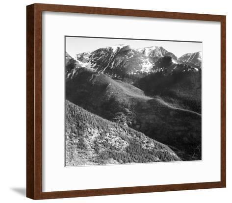 Hills and mountains, in Rocky Mountain National Park, Colorado, ca. 1941-1942-Ansel Adams-Framed Art Print