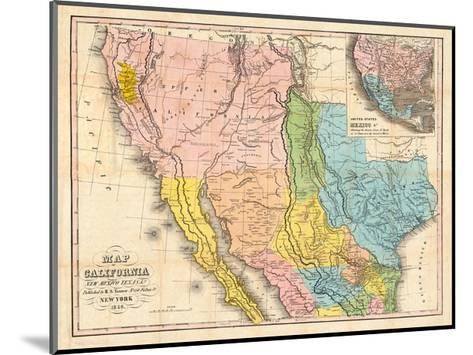 Map of California, New Mexico-Bill Cannon-Mounted Giclee Print