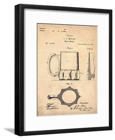 Beer Mug 1873 Sepia-Bill Cannon-Framed Art Print