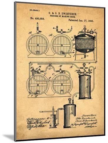Brewery Patent 1891 Sepia-Bill Cannon-Mounted Giclee Print