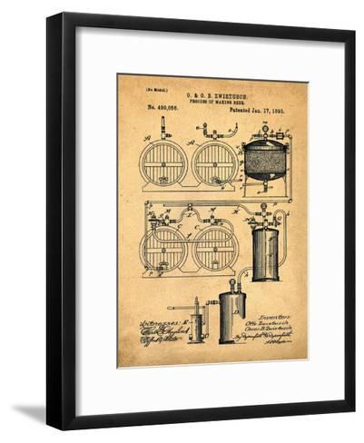Brewery Patent 1891 Sepia-Bill Cannon-Framed Art Print