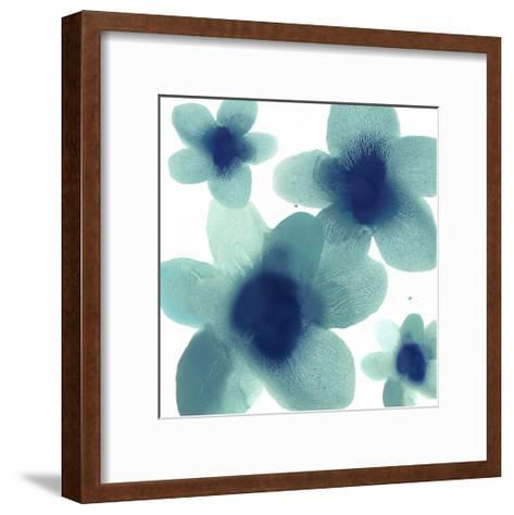 Aqua Blooms II-Hannah Carlson-Framed Art Print