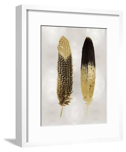 Gold Feather Pair on Silver-Julia Bosco-Framed Art Print